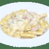 Fettuccine, Spaghetti o Canuto Alfredo con Champiñones y Jamón